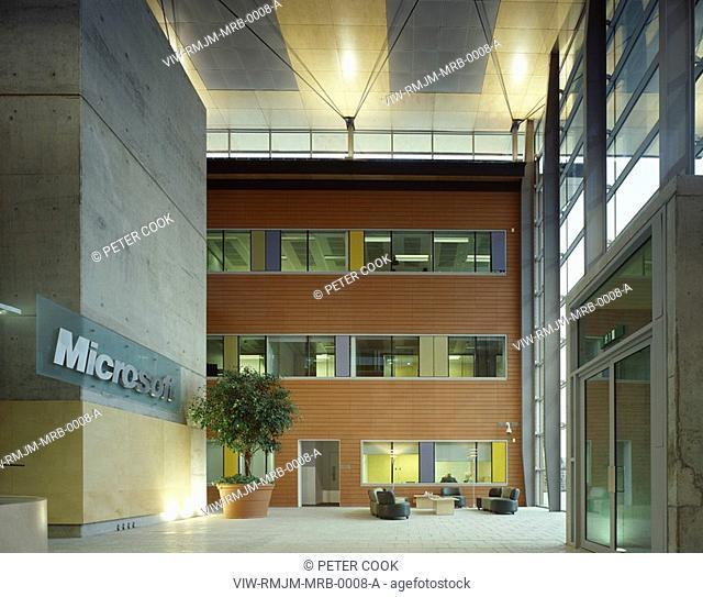 MICROSOFT RESEARCH BUILDING, CAMBRIDGE UNIVERSITY, CAMBRIDGE, CAMBRIDGESHIRE, UK, RMJM, INTERIOR, RECEPTION AREA VIEW TO OFFICE SPACE