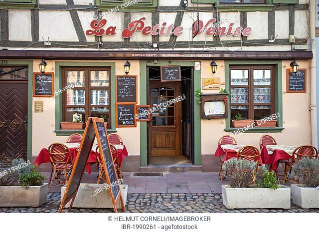 La Petite Venise, an Alsatian specialty restaurant, Rue de Moulin street, Petit France district, Strasbourg, Alsace, France, Europe