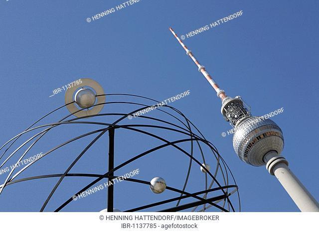 Fernsehturm TV tower and World Clock on Alexanderplatz square, Berlin, Germany, Europe
