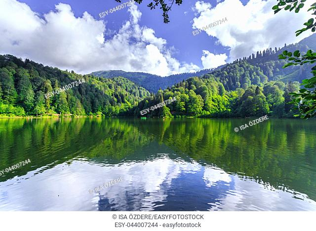Vew of Karagol (Black lake) a popular destination for tourists, locals, campers and travelers in Eastern Black Sea, Savsat, Artvin, Turkey