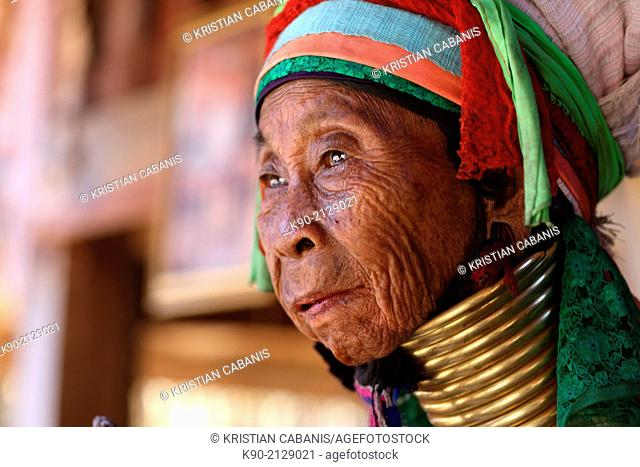 Portrait of Longneck Karen woman, Mae Hong Son, Thailand, Southeast Asia