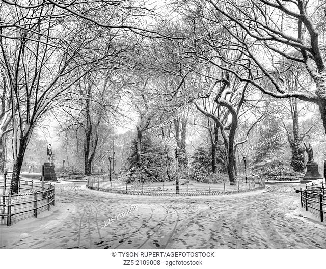 snowy image, foot prints and gated gardens