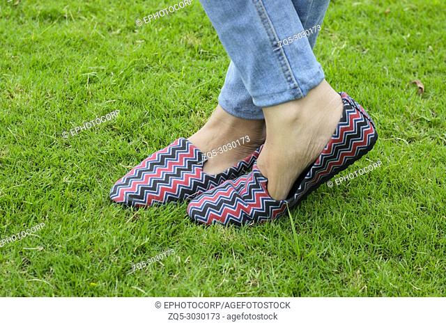 Close-up shoes with grass background