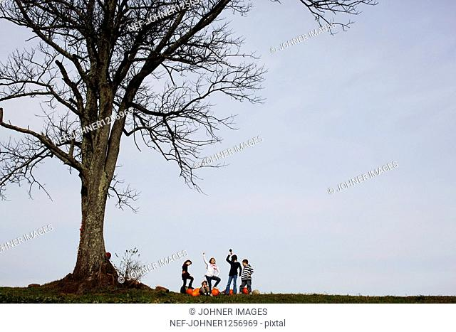 Five children having fun under large tree