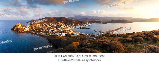 Morning view of Psara village and Agios Nikolaos church.