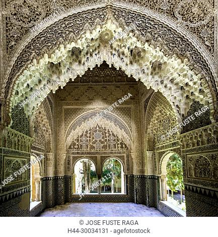 Spain, Andalucia, Granada City, The Alhambra, UNESCO (W.H.),Court of Lions, Dos Hermanas Hall
