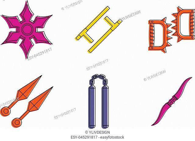 Armor icon set. Color outline set of armor vector icons for web design isolated on white background