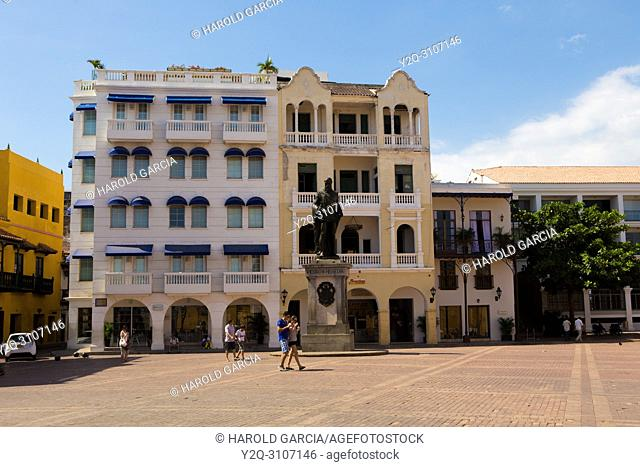 Plaza de la Aduana in the walled city of Cartagena, Colombia. South America.