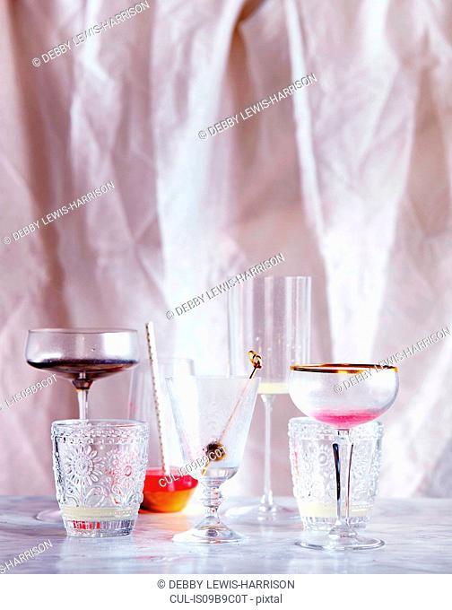Empty drinking glasses