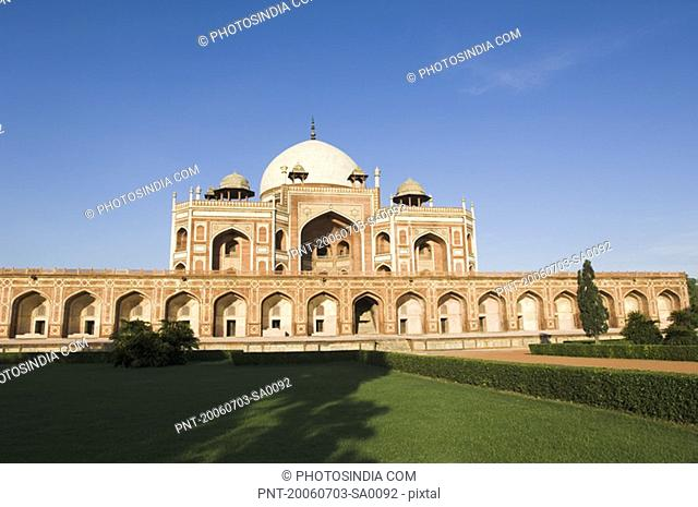 Lawn in front of a tomb, Humayun Tomb, New Delhi, India