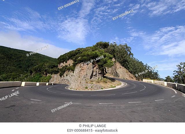 Bergstrasse auf Teneriffa, Spanien