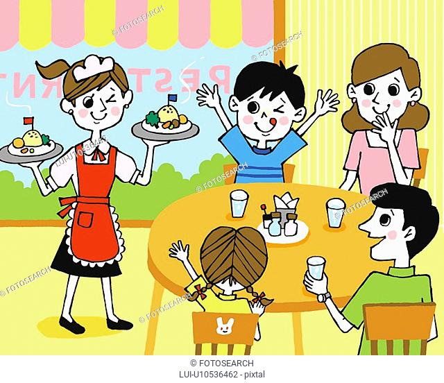 Family at restaurant, Painting, Illustration, Illustrative Technique, Front View, Rear View