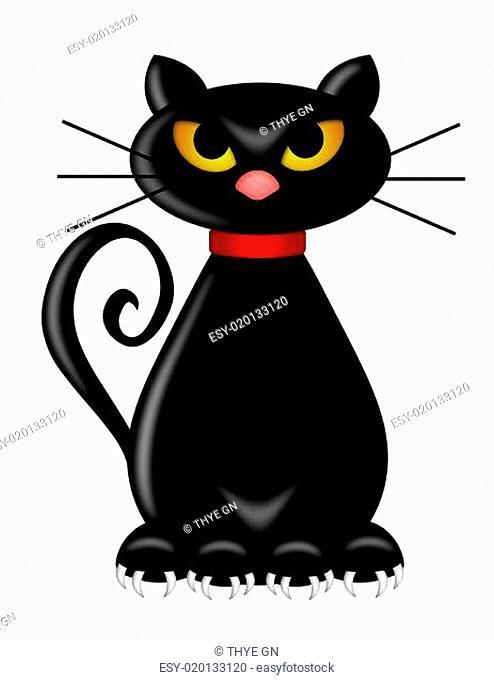Halloween Black Cat Sitting