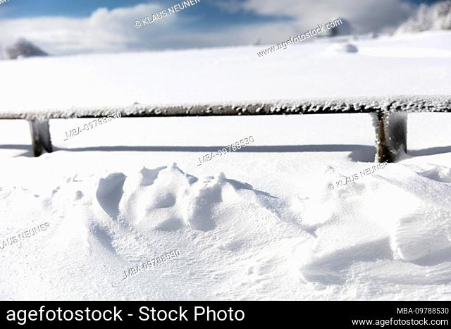 Winter, Wasserkuppe, frost, snow, drifts, Rhön, Hesse, Germany, Europe