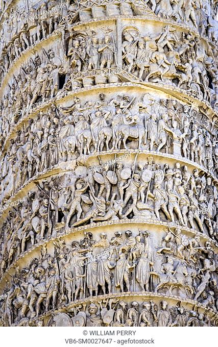 Ancient Emperor Marcus Aurelius Column Roman Soldiers Details Rome Italy. Column erected in 193 AD to commemorate Emperor's victory in military campaigns