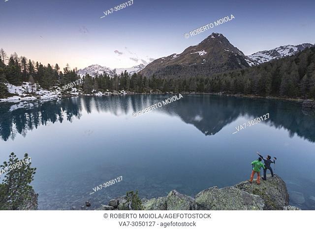 Lago di Saoseo and Corn Da Murasciola at sunrise, Val di Campo, Poschiavo region, canton of Graubunden, Switzerland
