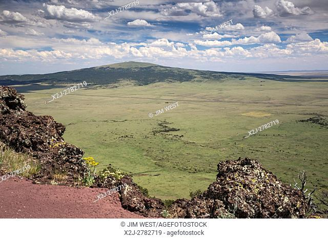 Capulin, New Mexico - Sierra Grande, an extinct volcano, from the rim of Capulin Volcano in Capulin Volcano National Monument