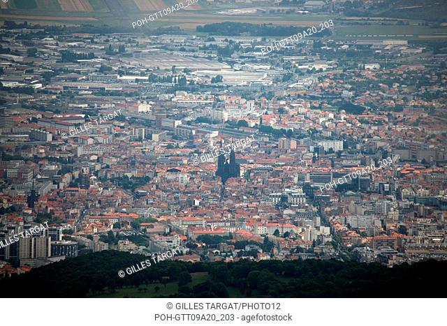 France, Auvergne, Puy de Dome, Clermont ferrand, General view on the city from the Puy-de-Dome, cathedral, historical monument, Volcanic rock, catholic religion