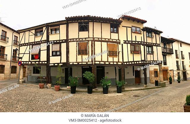 Traditional houses, panoramic view. Covarrubias, Burgos province, Spain