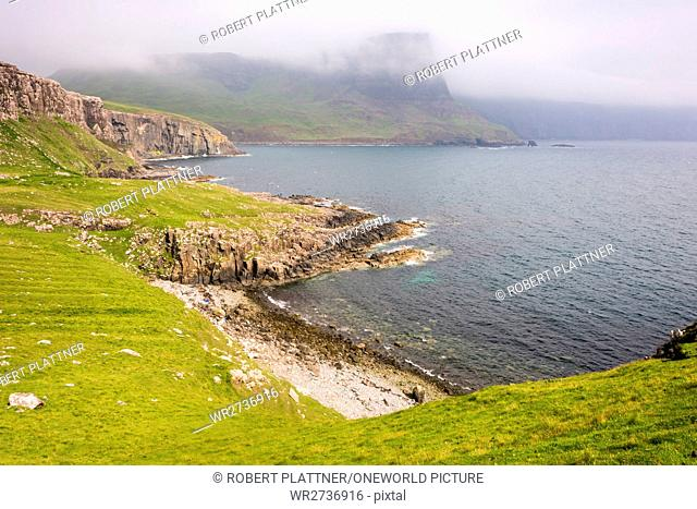 Scotland, Highlands, Isle of Skye, Glendale, Neist Point, Neist Point, Nevis Point, a small peninsula on the Scottish island of Skye and marked with its...