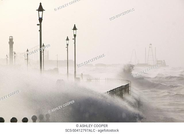 Blackpool being battered by storms on the 18th January 2007 that killed 13 people across the UK in the hurricane force winds