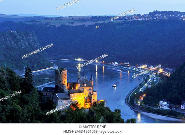 Germany, Rhineland Palatinate, Sankt-Goarshausen, (Burg) castle of Katz, the romantic Rhine listed as World Heritage by UNESCO