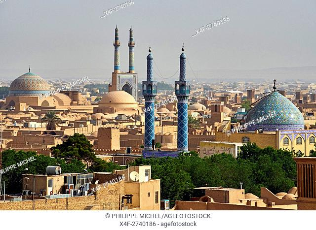 Iran, Yazd province, Yazd, Friday mosque, cityscape, badgirs or wind towers