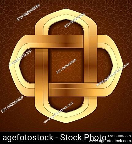Elegant islamic template design in brown arabic background. Gold frame in arabic style on a brown background. Girih. Islamic decorative art