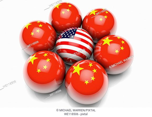 Sphere with the USA Stars and Stripes Flag surrounded by spheres with the flag of China - Concept Image