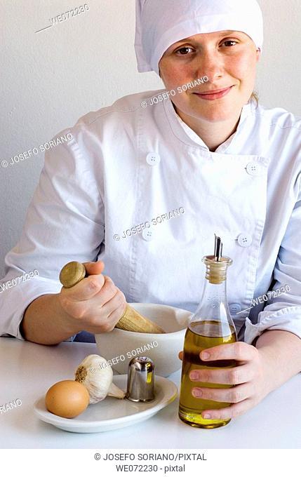 Chef preparing mayonnaise