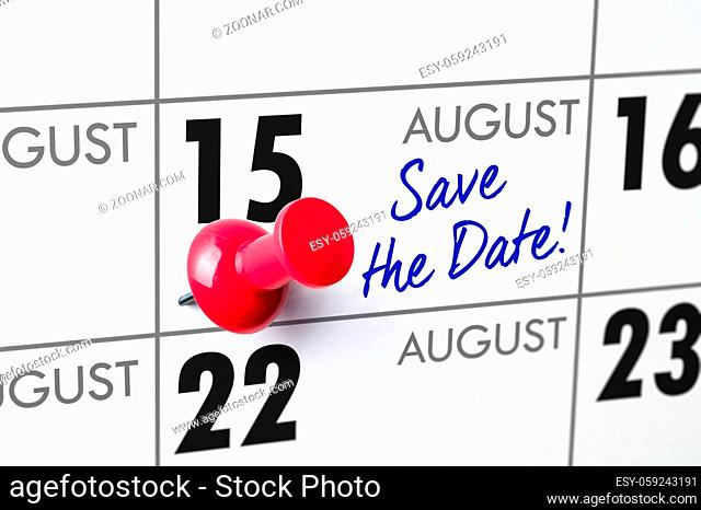 Wall calendar with a red pin - August 15