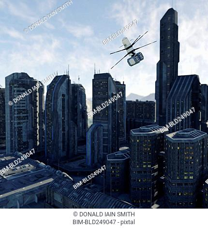 Drone flying in futuristic city
