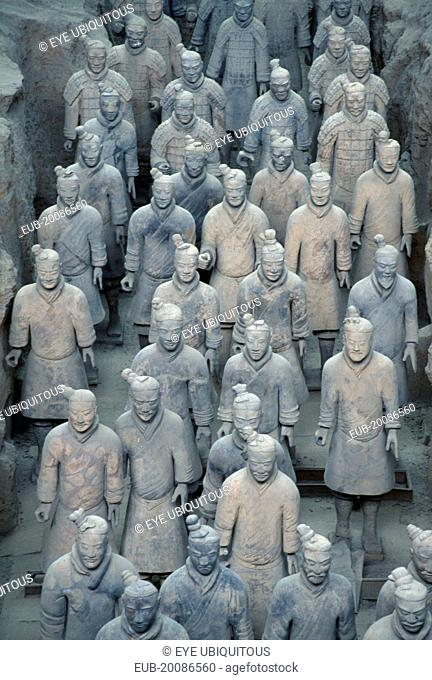 Soldier figures from the terracotta army created to guard the tomb of Emperor Shi Huangdi and dating from the 3rd century B.C