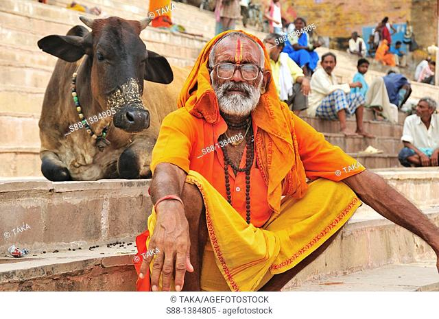 Sadhu at the ghat by the Ganges River