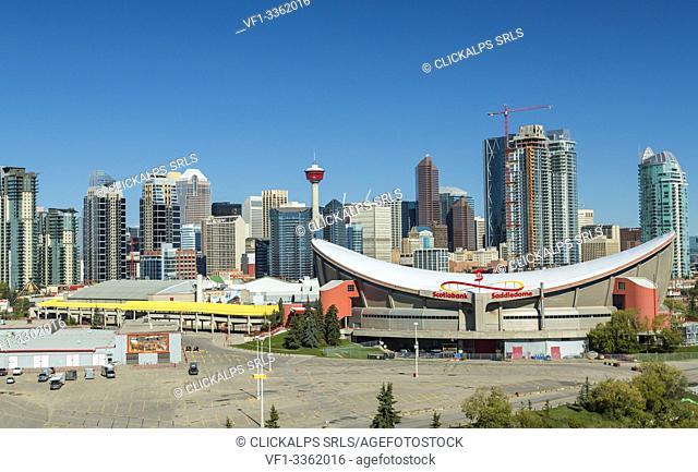 The Saddledome Stadium and skyline of Calgary, Alberta, Canada