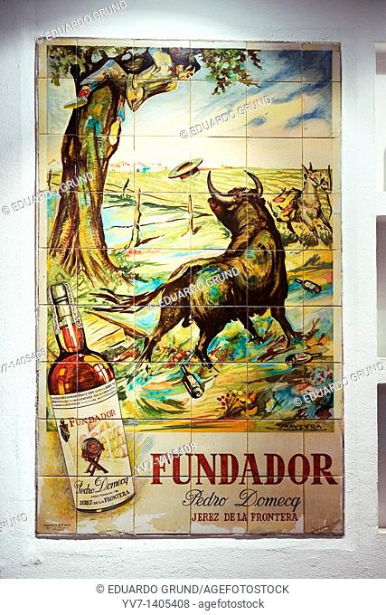 Adversiting about Founder Brandy  Jerez de la Frontera, Cadiz, Andalusia, Spain