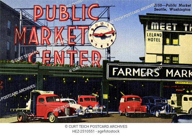Pike Place Market, Seattle, Washington, USA, 1952. Vintage linen postcard showing a view of the Public Market sign and clock