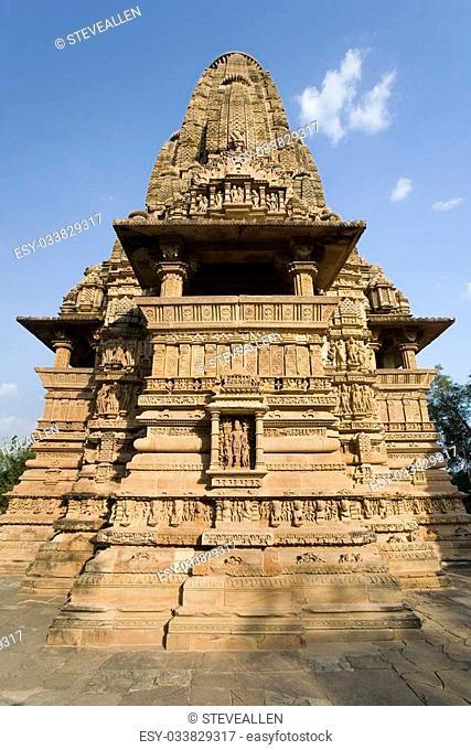Kandariya Mahadev Hindu Temple at Khajuraho in the Madhya Pradesh region of India. The complex of temples at Khajuraho are famous for their erotic sculptures...