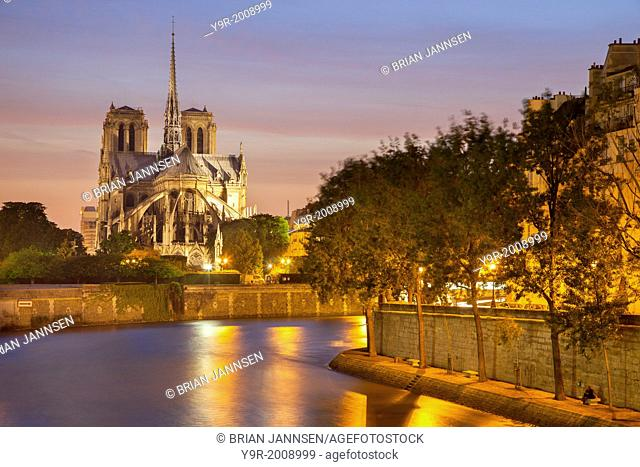 Cathedral Notre Dame along River Seine, Paris France