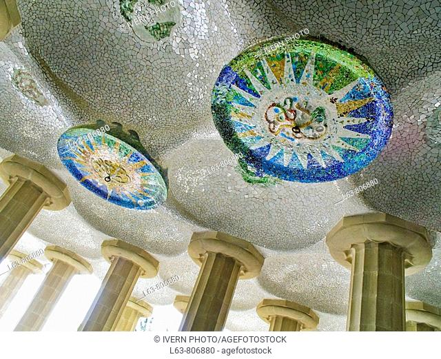 Mosaic decorations at Parc Güell by Antoni Gaudí  Barcelona  Catalonia, Spain