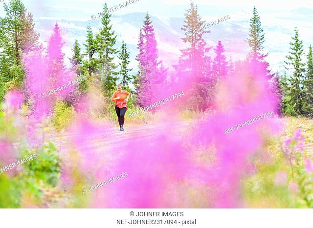 Woman running in mountain scenery