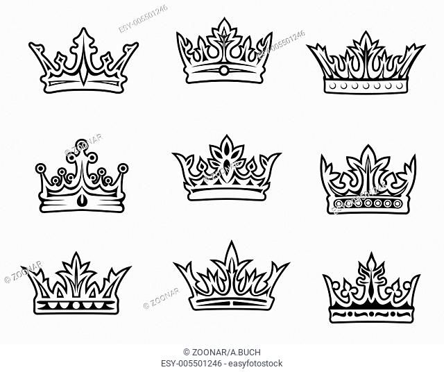 Set of royal crowns for heraldic design. Vector il