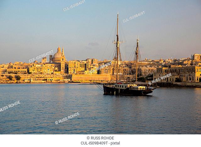 Fishing boat on water, Valletta, Malta