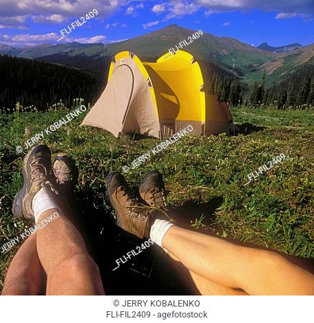 Campers in Purcell Mountains, British Columbia