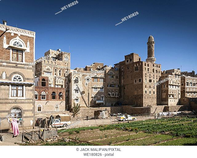famous traditional architecture heritage buildings view in sanaa city old town in yemen