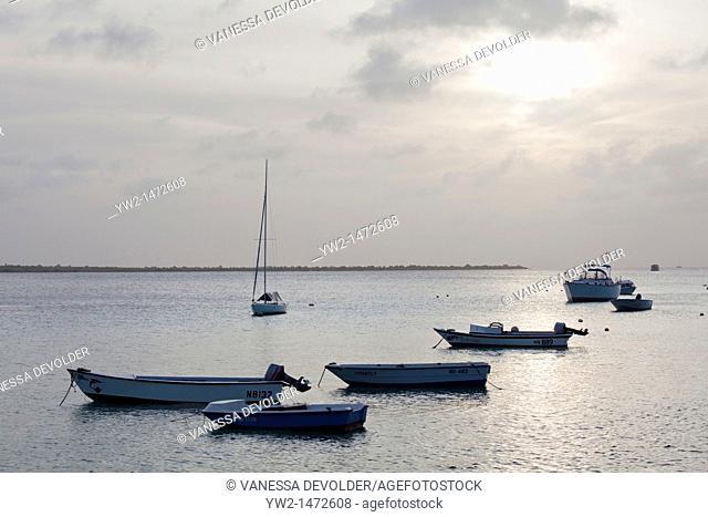Boats on the Caribbean sea at Bonaire