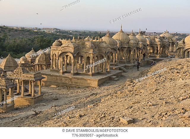 The cenotaphs of Bada Bagh at sunset, Jaisalmer, Rajasthan, India