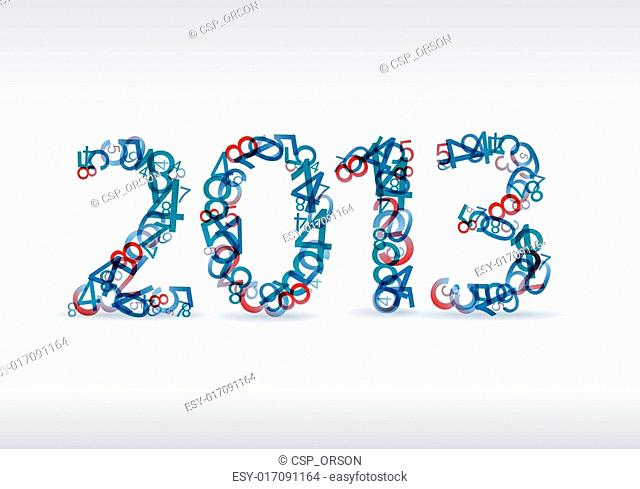 Vector blue New Year card 2013 made from numbers