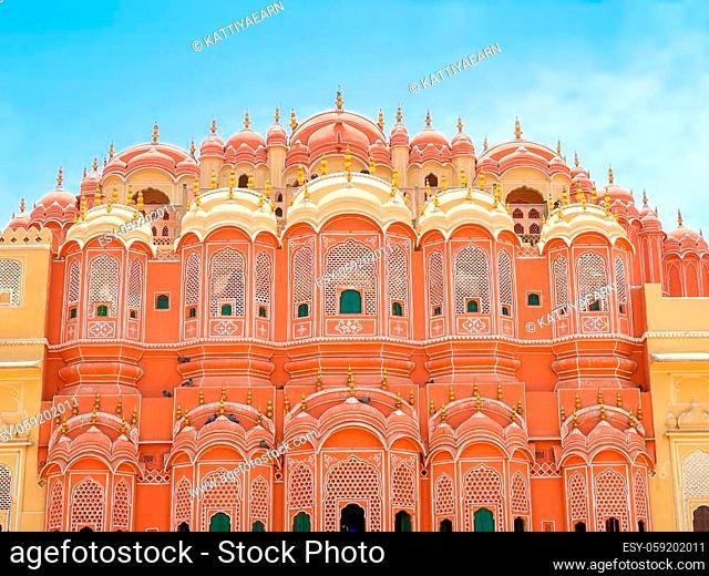 Inside of Hawa Mahal, the Palace of Winds, Jaipur, Rajasthan, India