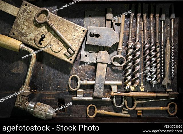 set of traditional carpentry and locksmith tools